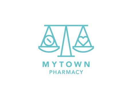 マイタウン薬局のアイデンティティが視覚化されたシンボルマーク。